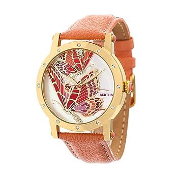Amazon.com  Bertha Isabella MOP Leather-Band Ladies Watch - Gold ... 3a2b0458b2