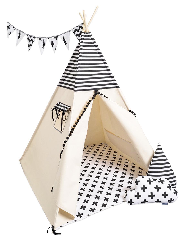 Noir-blanc  cozydots Cozy Teepee Tente Tipi Enfants Indien Fabriqué à La Main en EU, Beige Indien,Tipi Ensemble