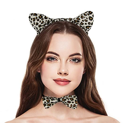 lux accessories halloween leopard ear bow tail accessories costume set 3pcs