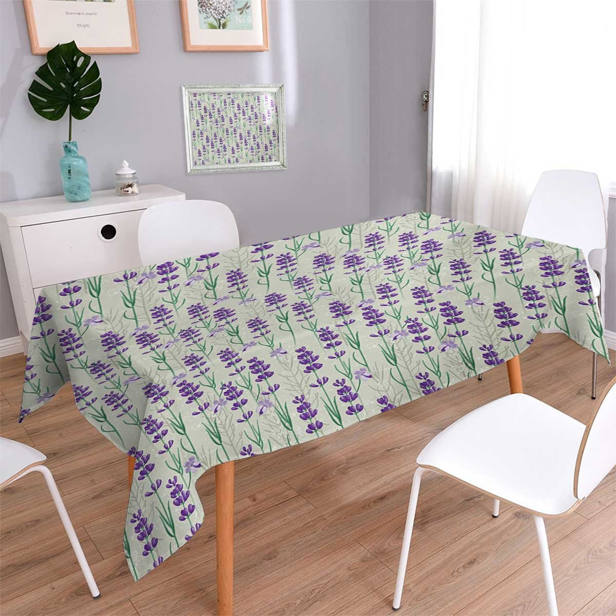 Angoueleven Lavender Patterned Tablecloth Botanical Pattern with Fresh Herbs Aromatherapy Spa Theme Dust-proof Oblong Tablecloth Pale Sage Green Violet and Green size:52''x70''