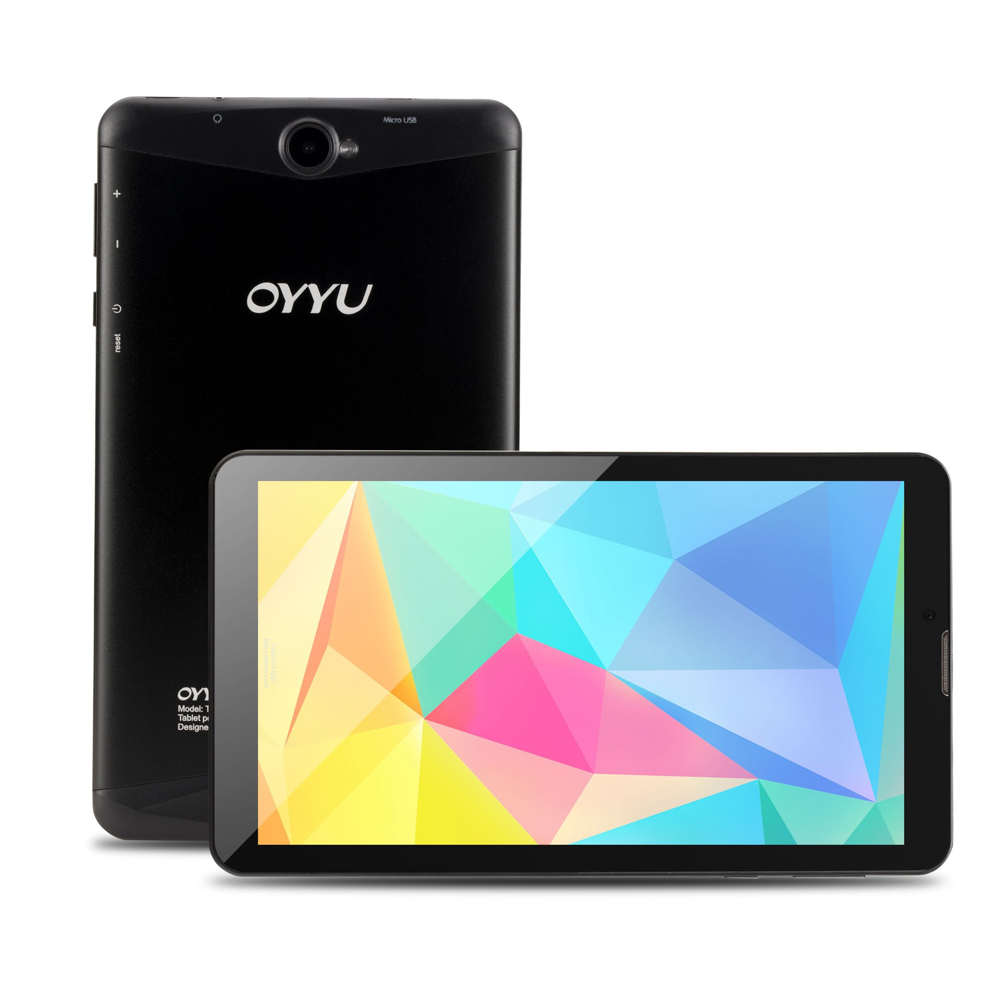 OYYU T7 7 Inch 3G Unlocked Phablet, Android 6.0 Dual SIM Card Phone Call Tablet PC, MTK8321 Quad Core 16GB ROM IPS Display 1280x720, with Dual Camera Wi-Fi GPS Bluetooth OTG Black rear
