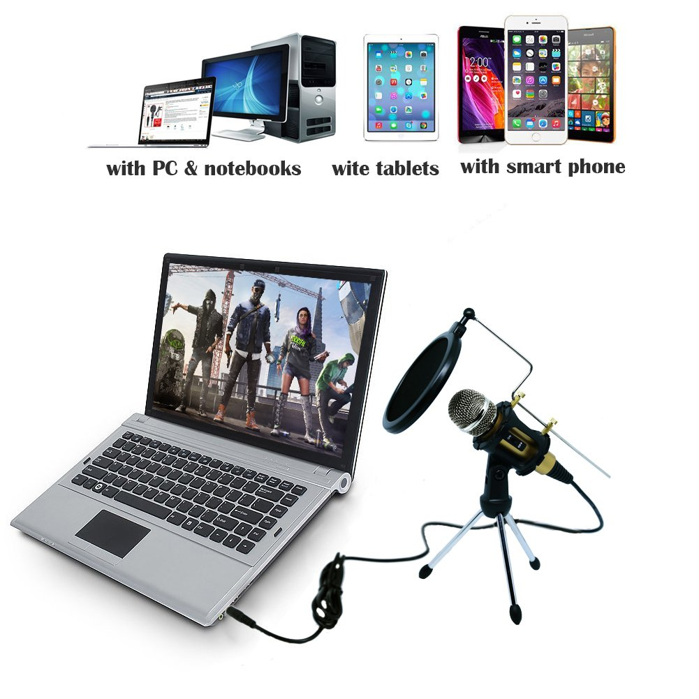 Professional Recroding Studio Microphone, 3.5mm microphone with stand, microphone for iphone andrioid mobile phone,ipads,tablet,pc,laptop computer. mic recording music, video, gaming, vocals (MC6G) by TKGOU (Image #7)