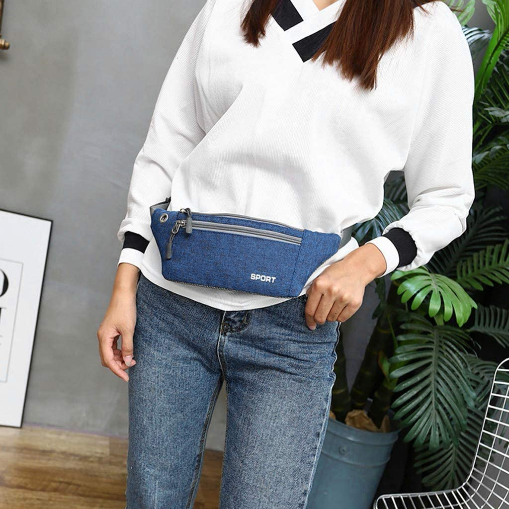 Women Men Waist Packs Bag Multi-function Pockets Outdoor Sport Fanny Pack Bag Black