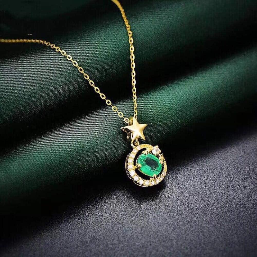 TFTHG Colgante de Collar de Esmeralda Vintage Pendientes de Anillo de Esmeralda Natural de Corte Princesa Regalos de Esmeralda de Plata Maciza