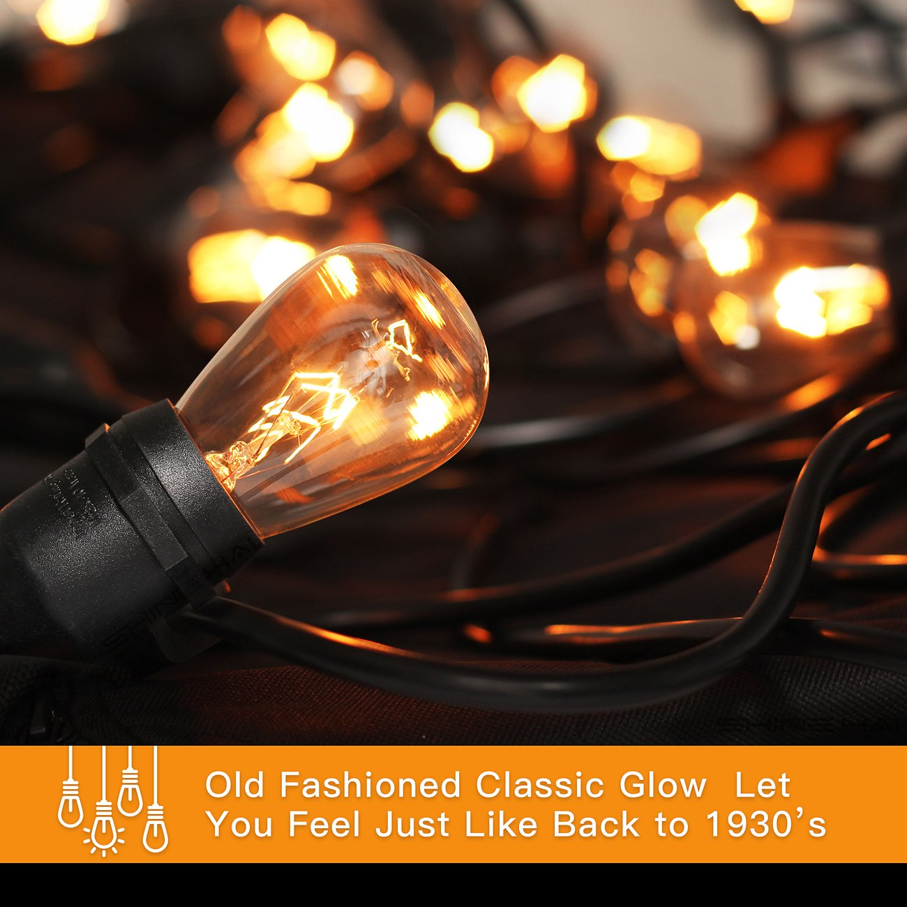 2-Pack 48Ft Heavy Duty Outdoor Patio String lights, Edison Vintage Dimmable 11S14 Bulbs w/ Hanging Sockets, Commercial Grade Weatherproof Market Cafe Lights for Bistro Backyard Pergola Party, Blk by SHINE HAI (Image #8)