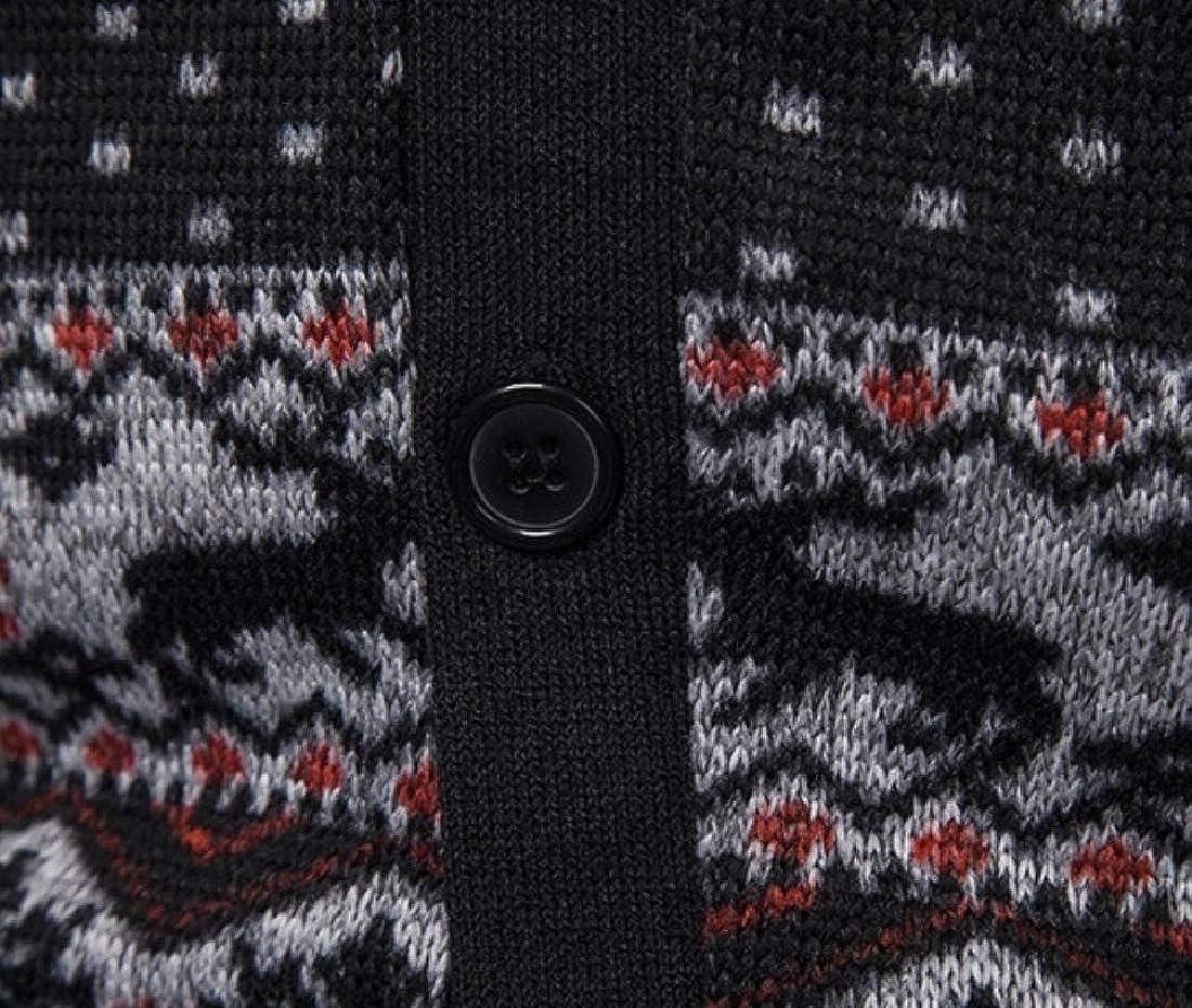 omniscient Men Knit Cardigan V Neck Long Sleeve Slim Fit Button Cardigan Sweater