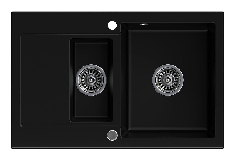 Noir /évier de cuisine 1.5 bac avec siphon automatique /Évier granit Primagran