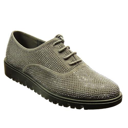 Angkorly - Zapatillas Moda Zapato Acento Zapato Derby Mujer Strass Plataforma 2.5 CM CM - Gris OT104 T 41: Amazon.es: Zapatos y complementos