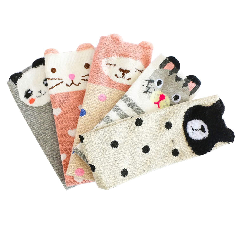 Bestjybt Girls Knee High Socks Cartoon Animal Cat Bear Fox Cotton Over Knee Socks for Kids Teens