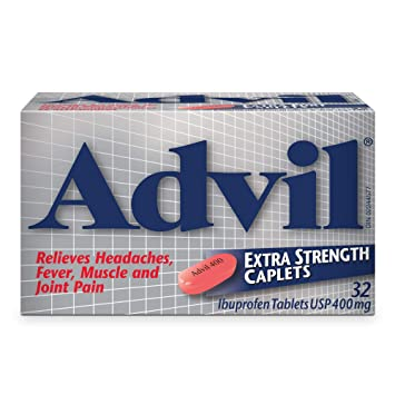 Advil Extra Strength Caplets (32 Count), 400 mg ibuprofen, Temporary Pain  Reliever / Fever Reducer