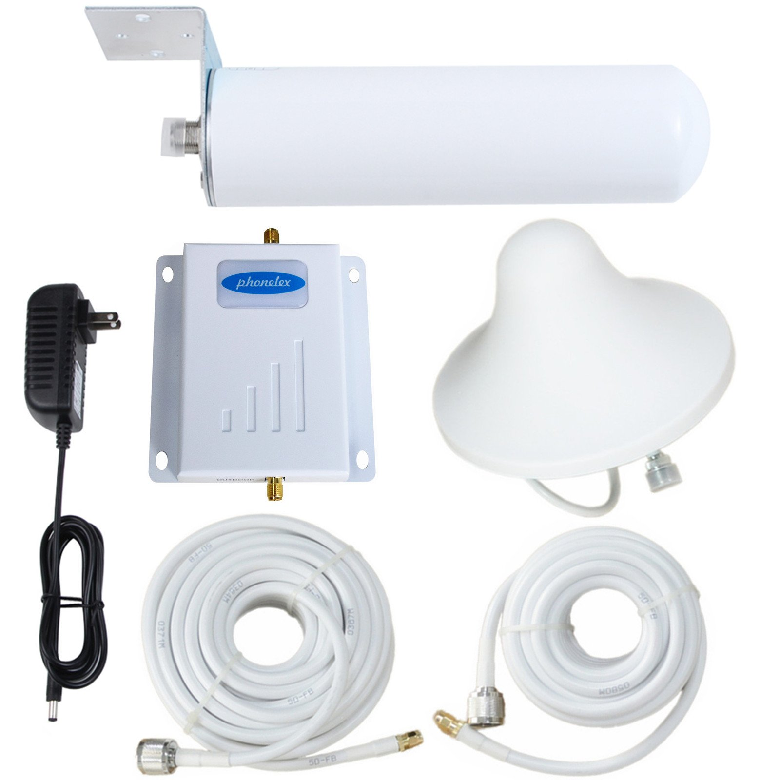 Phonelex 3G 4G LTE Mobile Phone Signal Booster T-Mobile AT&T AWS MetroPCS Band4 1700Mhz Cell Ampliifer Repeater With Indoor Ceilling and Outdoor Omni-Directional Atennas Kits Cable For Home Basement