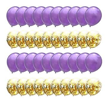 Amazon.com: Globos de confeti dorados y morados metálicos ...
