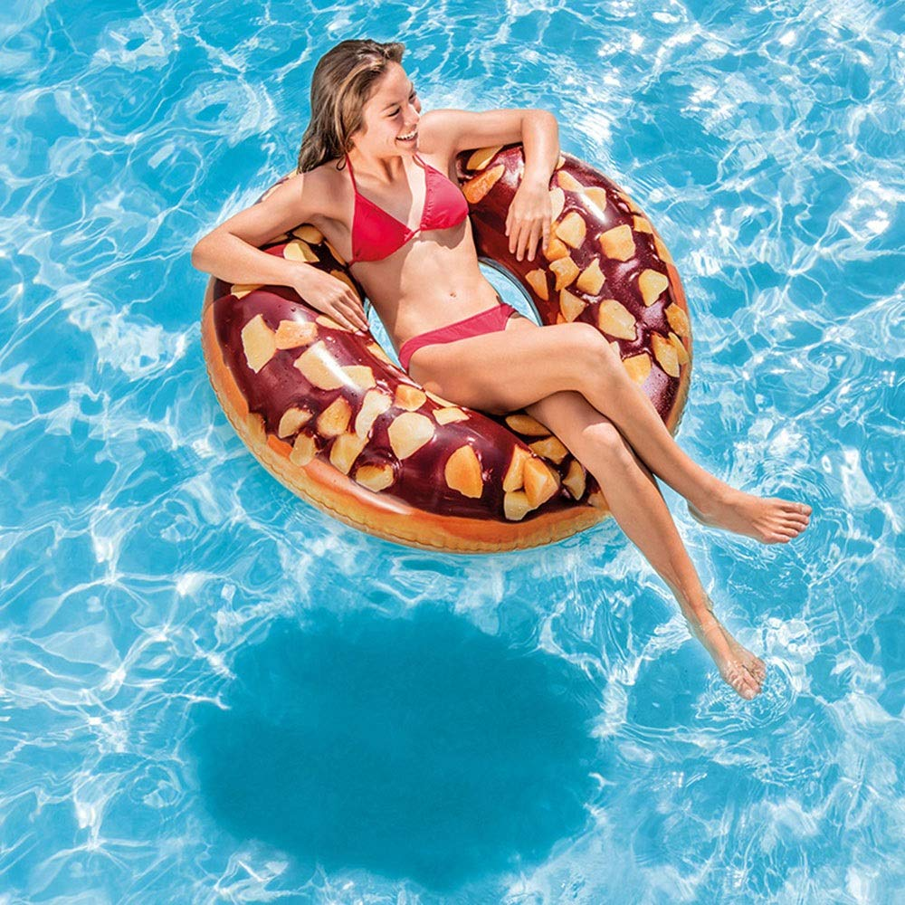 Zzyff Beach Summer Beach Beach Play Pool Printing Inflatable Adult Swimming Circle PVC Outdoor Diameter 114CM Easy to Install A Holiday