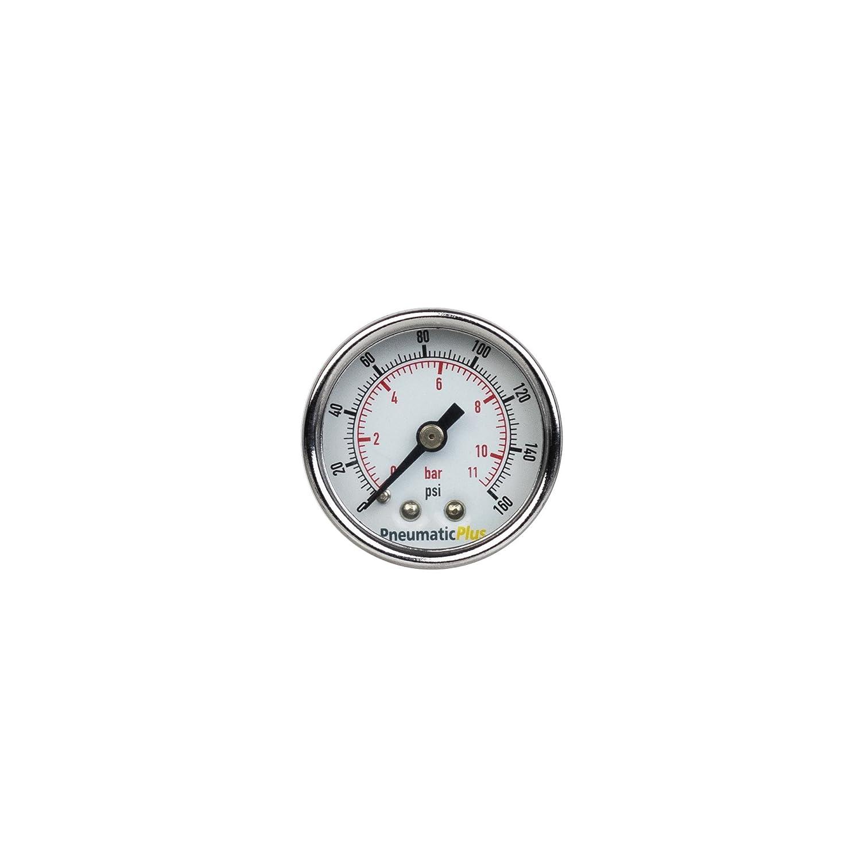 PneumaticPlus PSB15-160CP Air Pressure Gauge for Air Compressor WOG Water Oil Gas Chrome Plated 1-1//2 Dial Center Back Mount 1//8 NPT 0-160