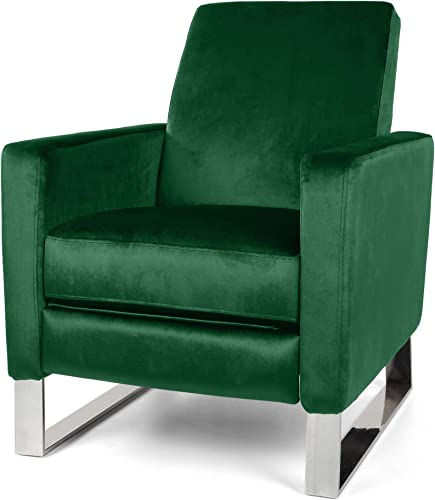 Christopher Knight Home Arvin Push Back High Leg Recliner, Emerald, Silver