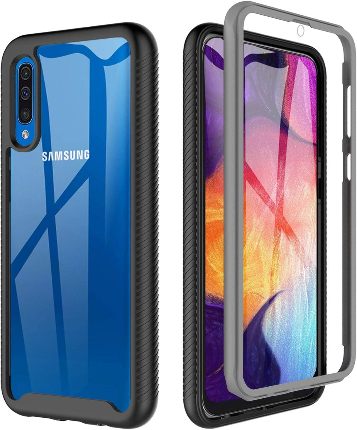 BESINPO Samsung Galaxy A50 Case A50s Case A30s Case, Full-Body Protective Slim Cover Built-in Screen Protector Shockproof Case for Galaxy A50/A50s/A30s(2019 Release) - Black/Clear