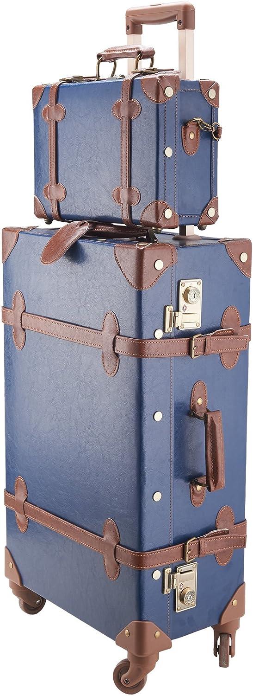 CO-Z 2PCS Maletas de Viaje Vintage 24'' y 12'' Maletas y Bolsas de Viaje 4 Ruedas Maleta de Viaje con Bolso de Mano Cerraduras TSA Vintage Luggage Set (Azul)