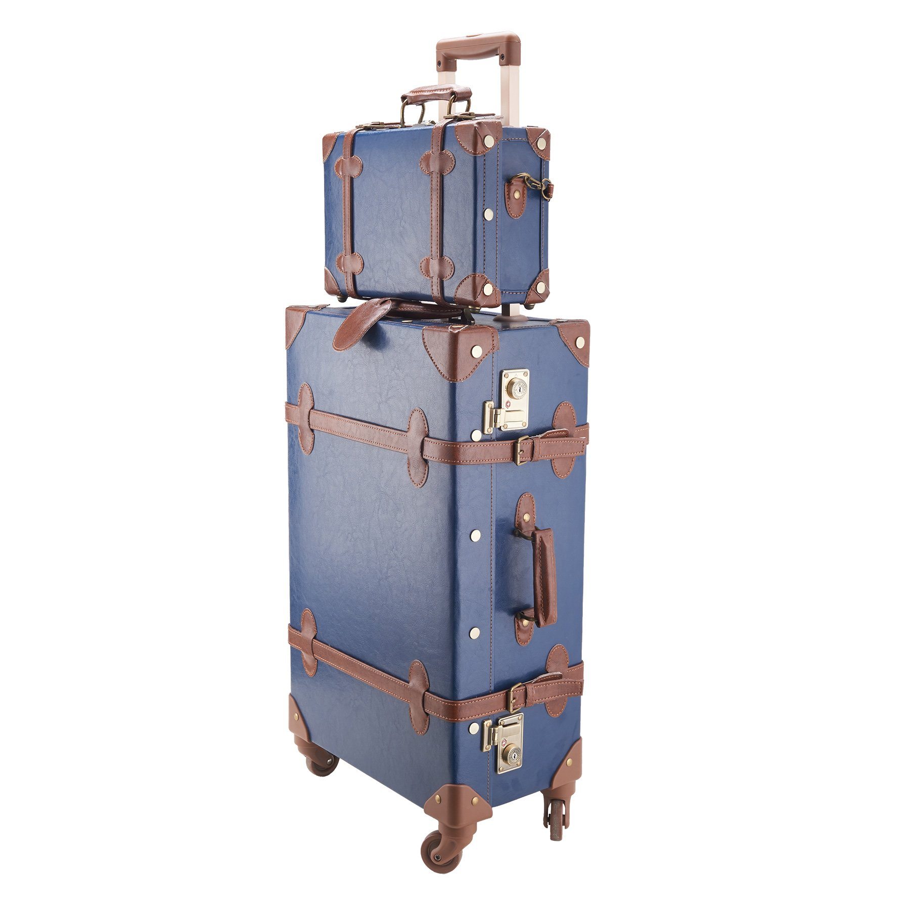 CO-Z Premium Vintage Luggage Sets 24'' Trolley Suitcase and 12'' Hand Bag Set with TSA Locks (Pink + Beige) (12'' +24'' Blue) by CO-Z