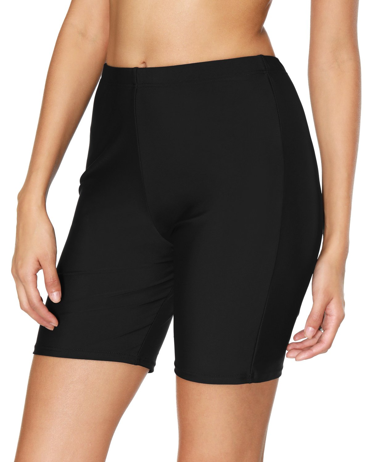 V for City Women's Stretch Beach Shorts Board Shorts Solid Sport Swimsuits Bottom Black L