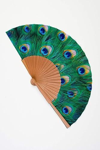Abanico de madera y tela tacto seda de color verde pavo real ...