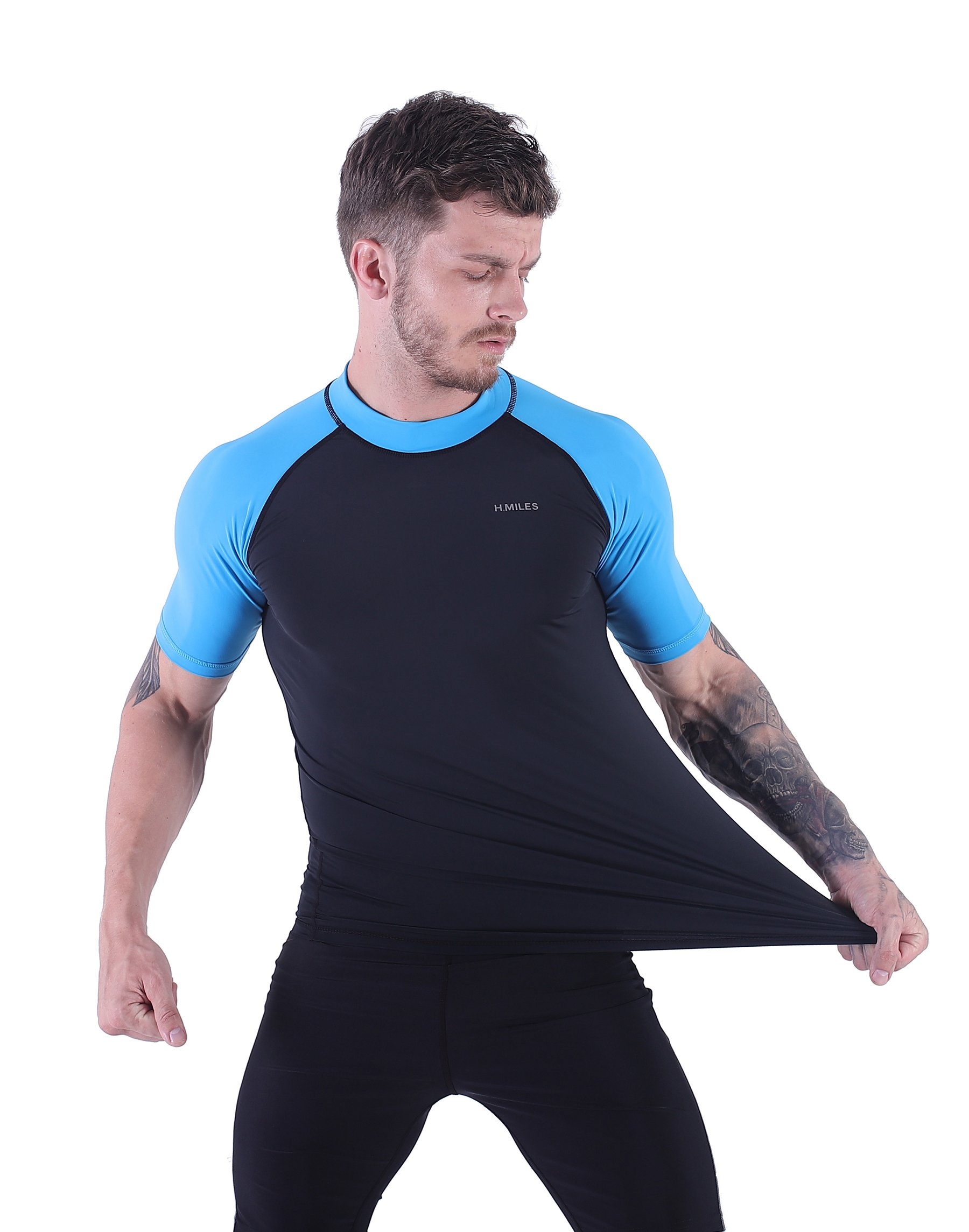 H.MILES Mens UV Protection Rash Guard Swim Shirts Short Sleeve Moisture Wicking Swimming Shirts Workout Swimwear Tops Black/Blue-M by H.MILES