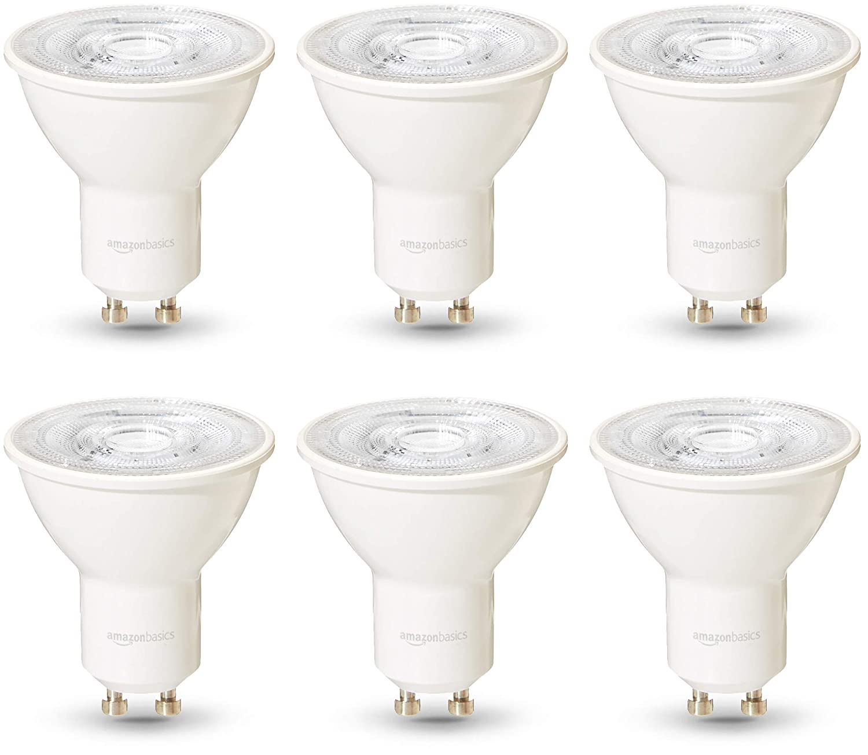AmazonBasics Professional - Bombilla de foco LED GU10, equivalente a 50W, luz blanco frío, regulable - juego de 6
