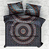 Elephant Mandala Duvet Cover With Two Pillow Covers by ''Handicraft-Palace'' Bohemian Doona set, Indian Reversible Quilt Cover Bedding Set Decotaive Bedding Throw Cotton Handmade