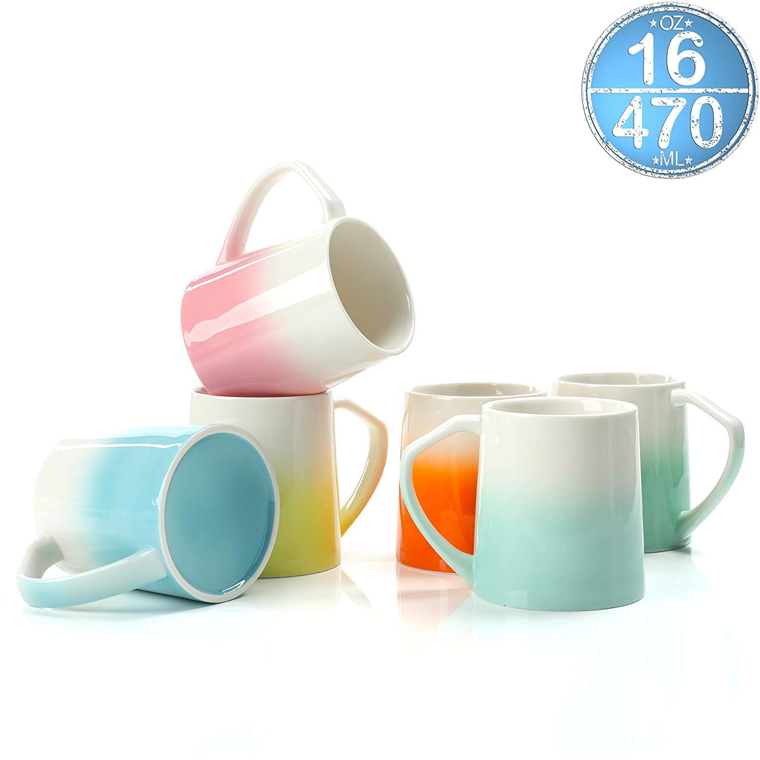 TEANAGOO MS025C Porcelain Mugs - 16 Ounce for Coffee, Tea, Cocoa, Set of 6, Cold Assorted Colors