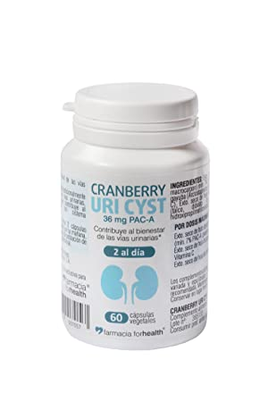 60 Cápsulas vegetales Cranberry Uri Cyst con concentrado de arándanos rojos, hoja de gayuba,