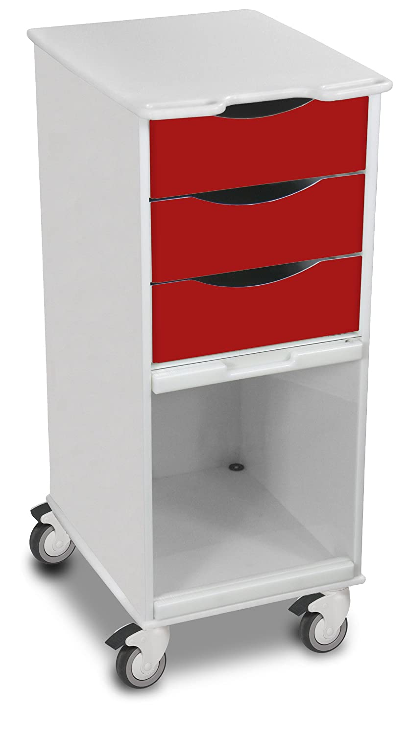 TrippNT 51186 Polyethylene Core SP Space Saving Locking Lab Cart with Clear PETG Door, 15 Width, 35 Height x 19 Depth, Cherry Red and White