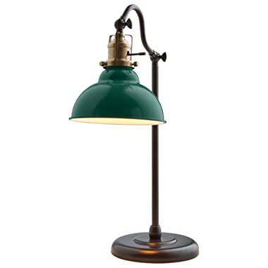 Stone & Beam Walters Vintage Task Lamp With Bulb, 19.9  H, Green
