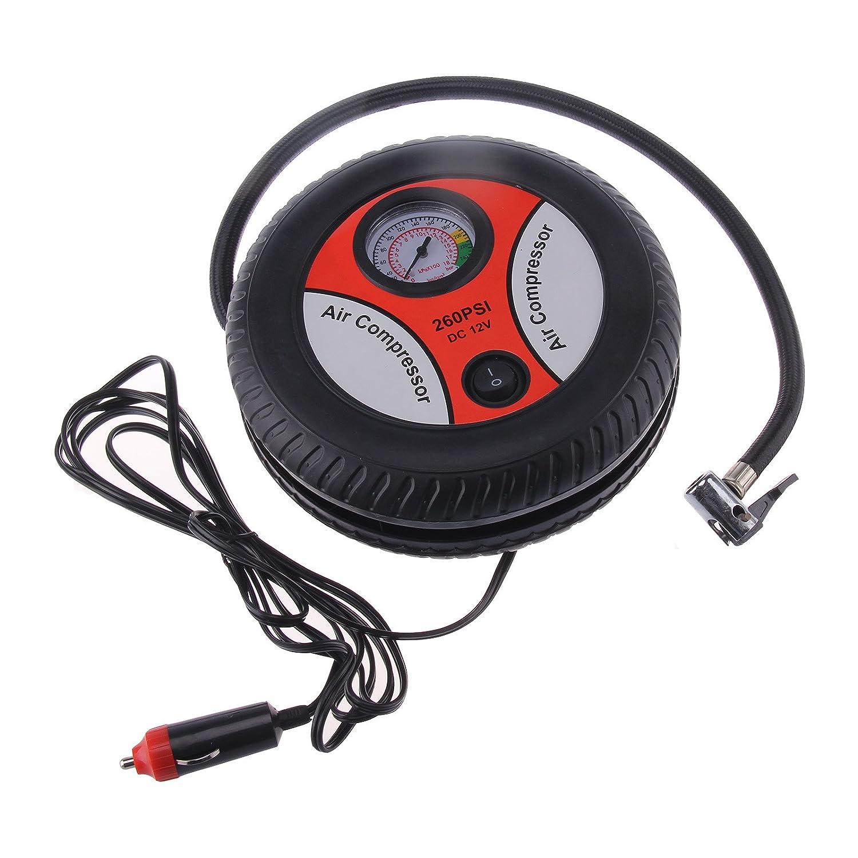 MultiWare Mini Compresseur d'air Electriques Portable d'urgence pour Pneus Bateaux Pneumatiques Et Ballons Outils Auxiliaires Pompe De Gonflage De Voiture Baromè tre 260PSI 12V oem