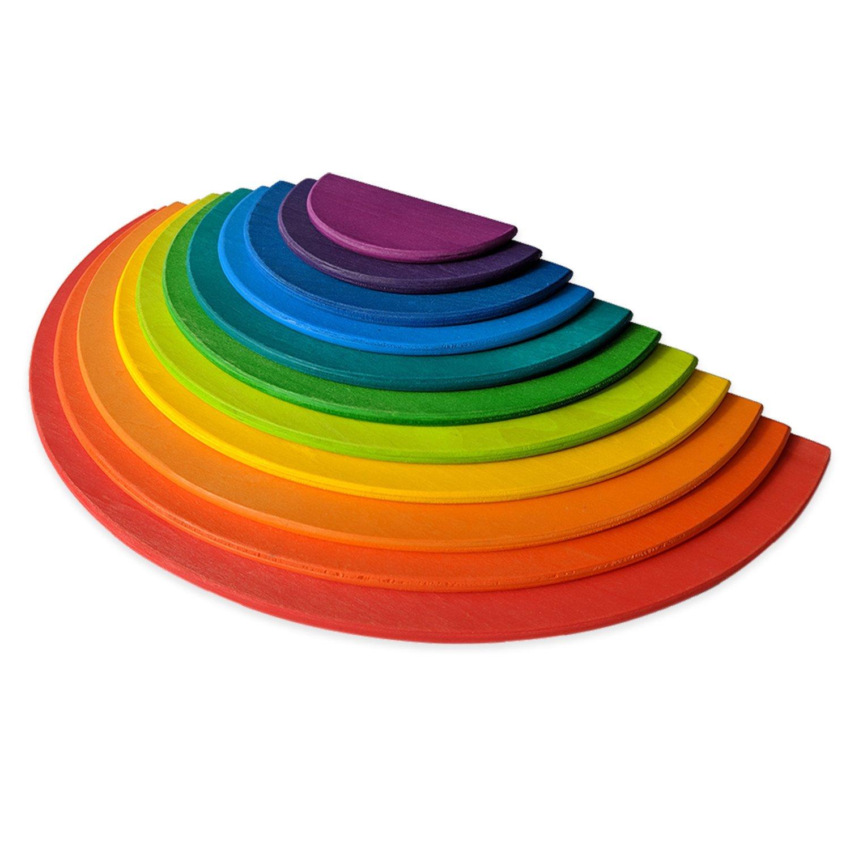Piezas con diseño de arcoiris para apilar, juego educativo (Montessori Waldorf School) 11 Piece Rainbow Semicircle