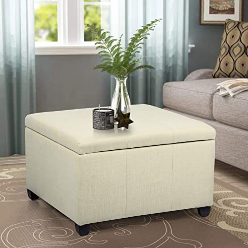Joveco Ottoman 28.9 Tufted Storage Bench for Living Room Bedroom Toy Chests Storage Room Organizer Beige