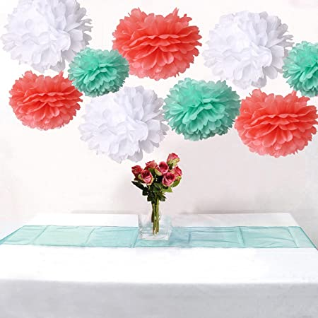 18pcs mixed coral mint white tissue paper flower pom poms pompoms 18pcs mixed coral mint white tissue paper flower pom poms pompoms wedding birthday party nursery decoration mightylinksfo