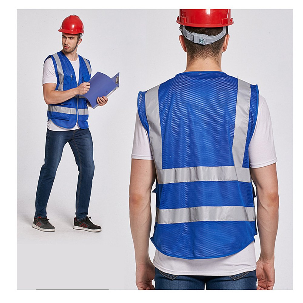 Blue Vests With Reflective Tape(Blue,Medium) Blue Safety Vest Reflective With Pockets And Zipper|High Visibility Mesh vest For Men And Women