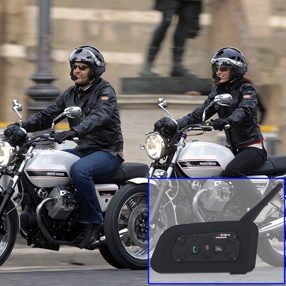 V6 1200 m Casco de la motocicleta bt Intercom Bluetooth 6 Riders Interphone auriculares intercomunicadores de motos para casco de moto - 4 piezas: ...