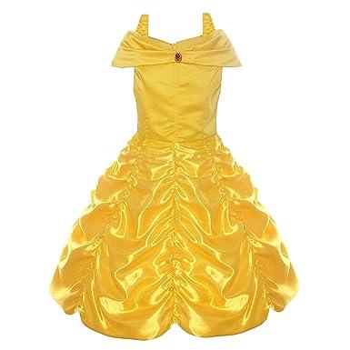 Tacobear Disfraz Bella y Bestia Niña Princesa Bella Vestido Traje Princesa Bella para Halloween Cosplay Fiesta