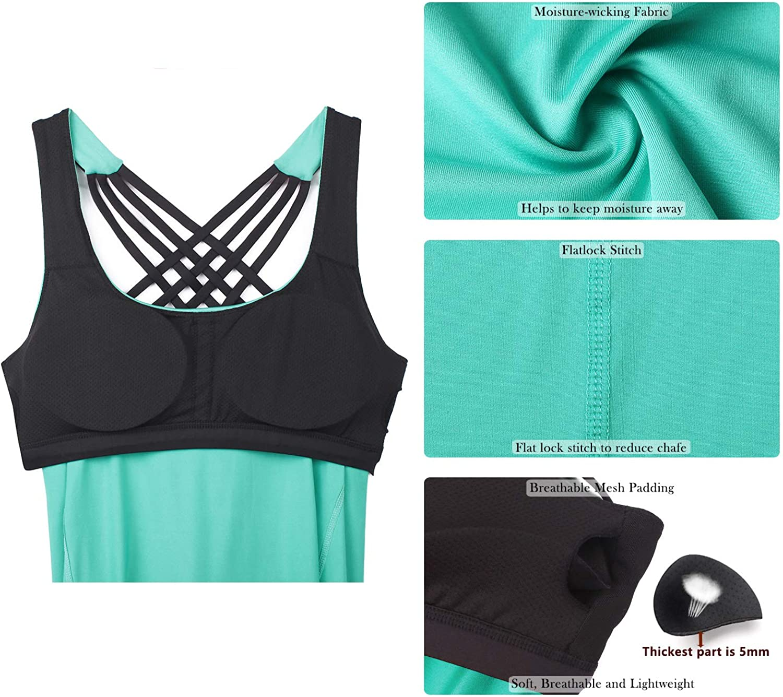 icyzone Damen Sport Tops mit Integriertem BH 2 in 1 Yoga Gym Shirt Fitness Training Tanktop
