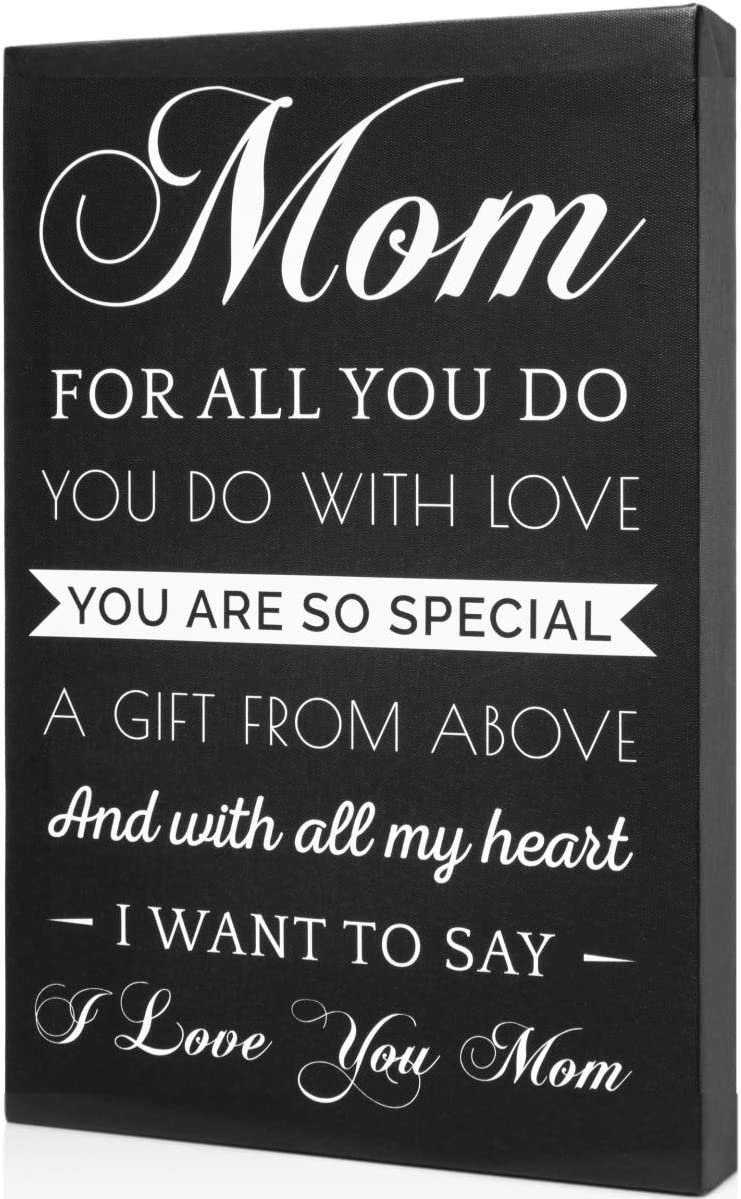 Light Autumn Gifts for Mom - Hangable Canvas from Daughter or Son - Meaningful Mom Gifts (Blackwhite) (Canvas)