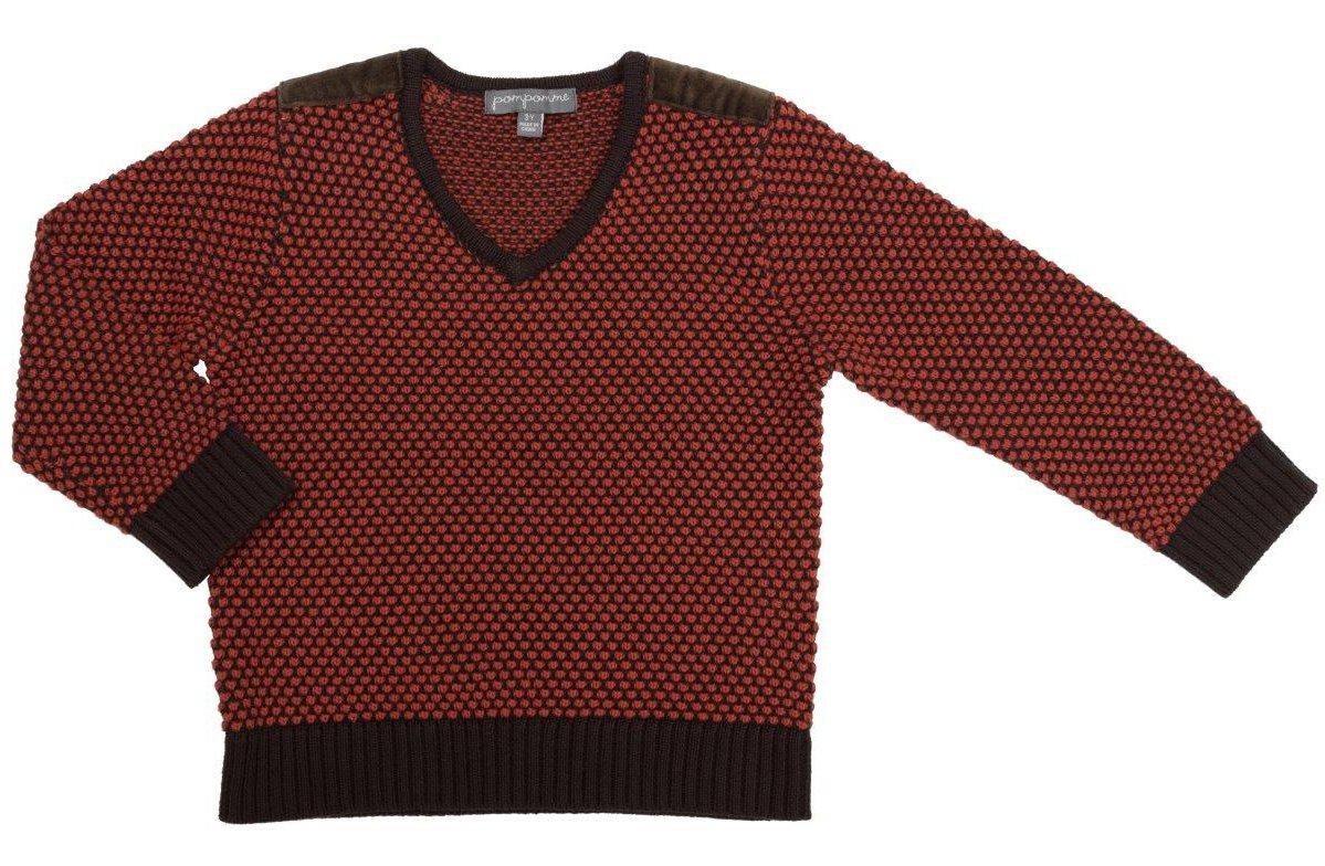 Pompomme Boy's Orange & Brown Textured V-Neck Jersey Knit Sweater (6 YR)