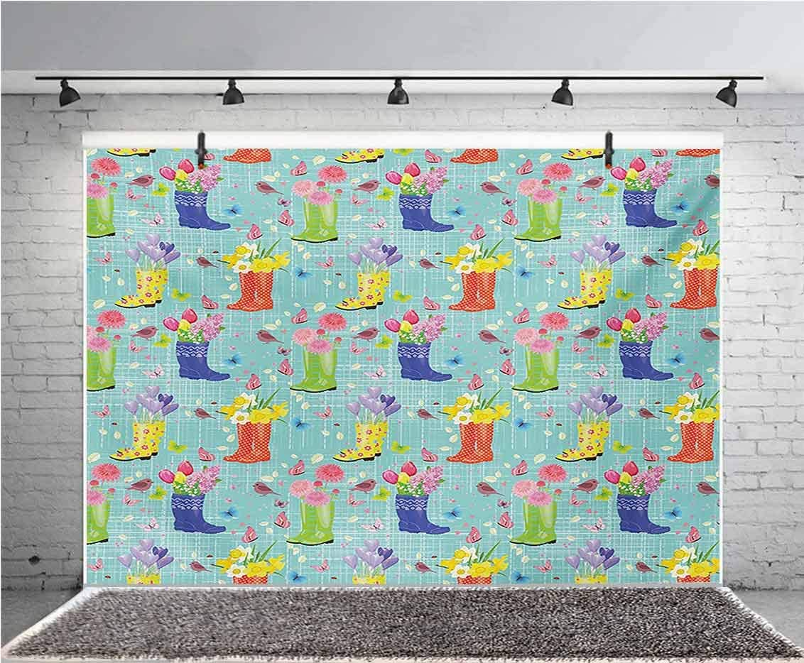 Spring 12x10 FT Vinyl Photo Backdrops,Rubber Boots with Flowers Abstract Blue Toned Background Butterflies and Hearts Background for Selfie Birthday Party Pictures Photo Booth Shoot