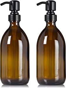 Artanis Home Refillable Amber Glass Dish Hand Soap Lotion Dispenser 16 oz, 2-Pack – Apothecary Bottle with Black Satin Pump