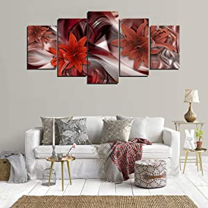 yj_art Red Lily Flowers Painting Canvas Printed Wall Art for Bedroom Living Room Decoration 5 Panels Abstract Floral Home Decor Stretched and Ready to Hang (A,Overall Size: 60''W x 30''H)