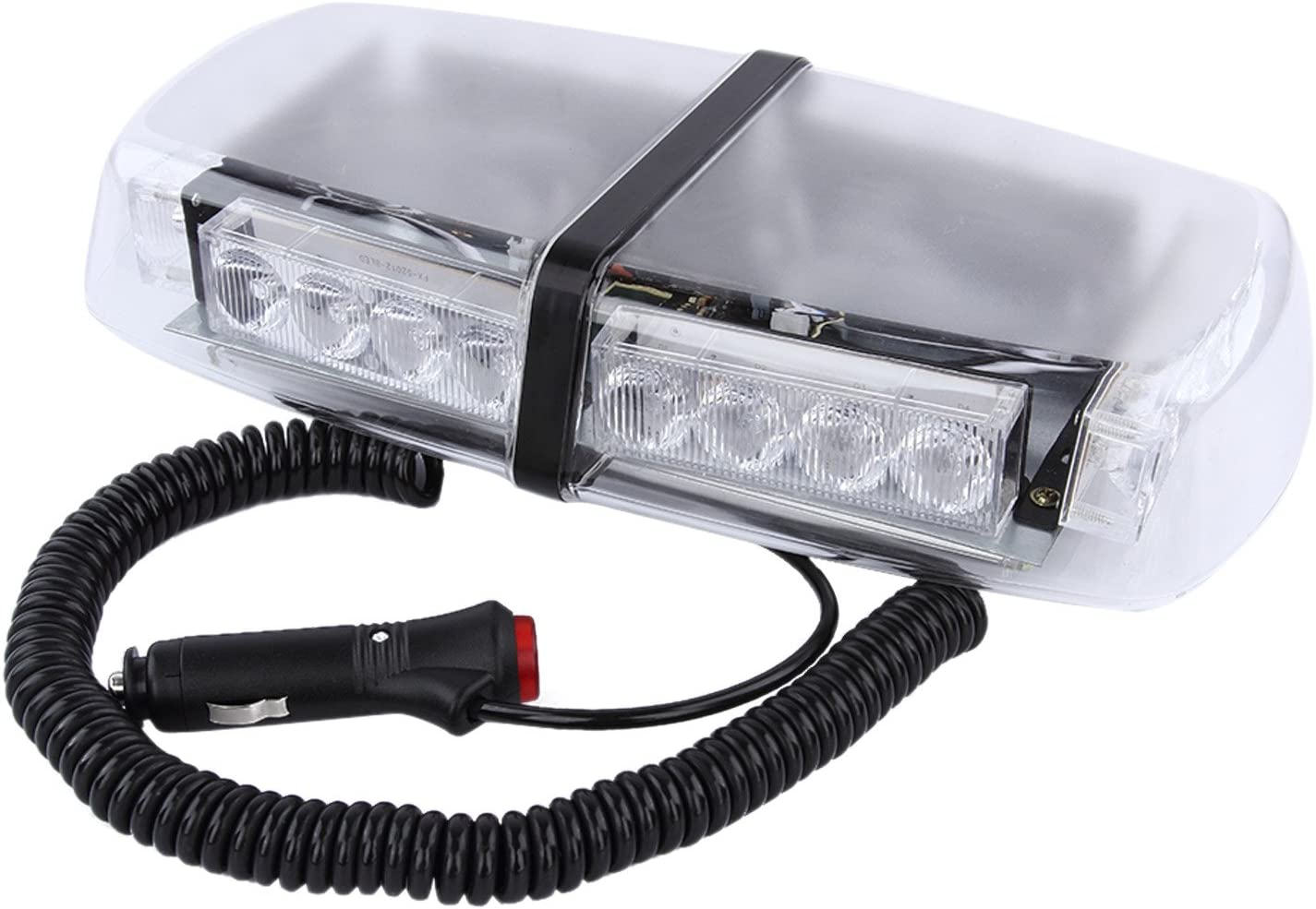 "24W 7/"" LED Emergency Beacon Warning Rotating Round Roof Strobe Light Amber White"
