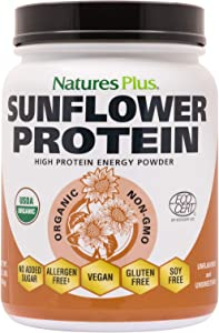 NaturesPlus Organic Sunflower Protein - 1.22 lbs, Vegan Protein Powder - Unflavored & Unsweetened - High Protein Energy - Promotes Muscle Growth & Strength - Vegetarian, Gluten-Free - 15 Servings