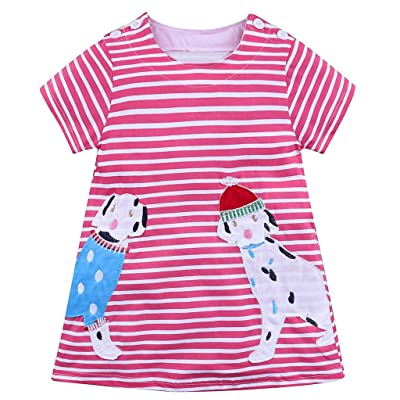 6c78fbfdefe39 Yalasga Baby Toddler Girls Cartoon Puppy Dog Striped Dresses Summer  Sundress Short Sleeve