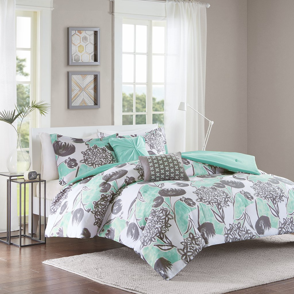 Intelligent Design ID10-730 Marie Comforter Set Full/Queen Aqua,Full/Queen