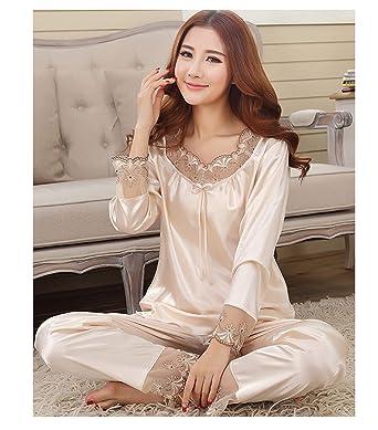 2018 New Luxury Women Silk Pajamas Solid Embroidery Pyjamas Women Lounge Pajama Sets Silk Satin Feminino
