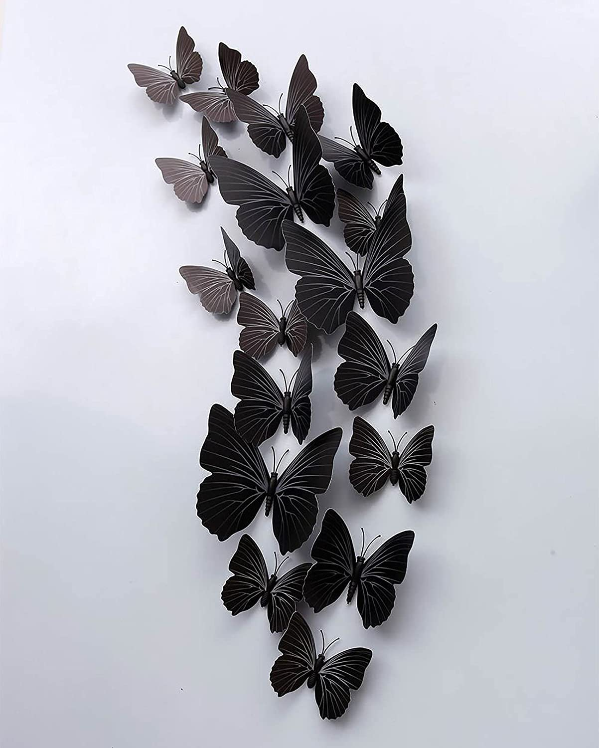 3D Butterfly Wall Decor, 24PCS Black Butterfly Black Wall Decor, PVC Butterfly Stickers with Magnet, Removable Butterfly Wall Decals for Home Nursery Kids Bedroom Decorations
